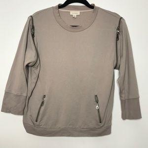 Witchery Zippered Pullover Sweatshirt 3/4 Sleeve S